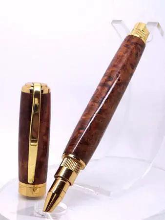 Amboyna Burl Wooden Rollerball Pen On Stand