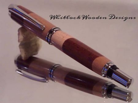 Two Tone Segmented Wood Rollerball Pen