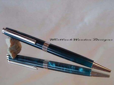 A Streamline Chrome Turquoise Handmade Pen
