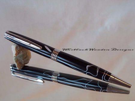 Handmade Acrylic Pen Black White Streamline