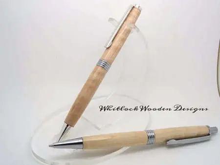 Curly Maple Chrome Pen Pencil Set
